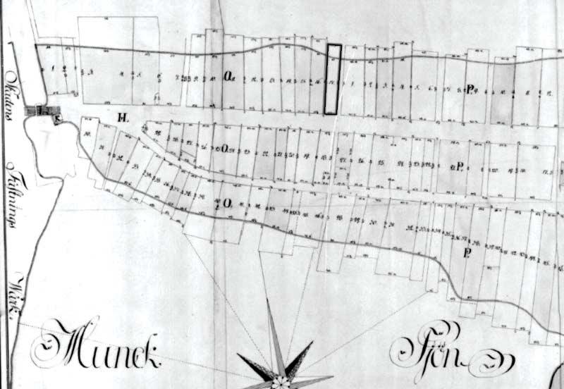 Karta över Jönköpings västra kvarter 1802, kartan ritad av Ödvall.
